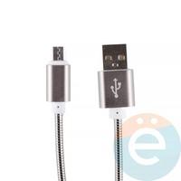 USB кабель на Micro-USB плетёный металл чёрный