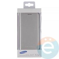 Чехол-книжка боковой на Samsung Galaxy A3 (2017) SM-A320 серебристый