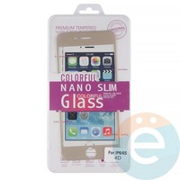 Защитное стекло 3D fiber с мягкими краями на Apple iPhone 6/6s золотистое