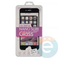 Защитное стекло 3D fiber с мягкими краями на Apple iPhone 7/8 чёрное
