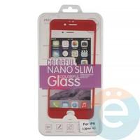 Защитное стекло 3D fiber с мягкими краями на Apple iPhone 6/6s красное